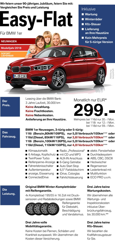 bmw 1er leasing inkl versicherung auto bild idee. Black Bedroom Furniture Sets. Home Design Ideas